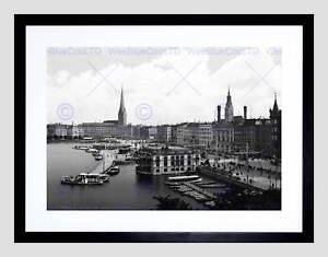 JUNGFERNSTIEG HAMBURG GERMANY 1895 OLD BW BLACK FRAMED ART PRINT PICTURE B12X195