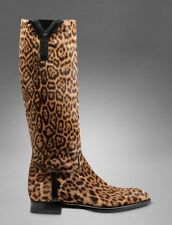 YSL Saint Laurent  Brown Leopard Knee Pull On Tall Riding Boots NEW $1550 ~ 6/36