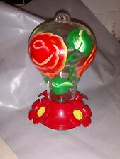 Hummingbird Feeder for Outdoors Patio - Colorful Hand Blown Glass Hand Painted.