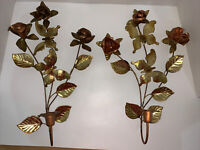 """Metal Wall Sconce Set Vintage Copper Brass Gold Floral Roses Butterflies 17"""""""