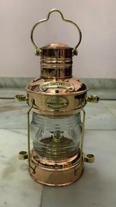 Brass & Copper Anchor Oil Lamp Nautical-Maritime Ship-Lantern Boat Light.