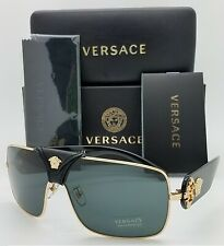 NEW Versace sunglasses BAROQUE VE2207QA 100287 Black Gold Grey AUTHENTIC leather