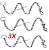 4X Extra Strong Long Chain Light Weight Key-ring With Belt Clip Metal 40 cm Long