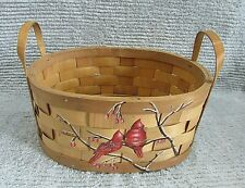 Hand Painted Red Cardinals Winter Berry Branch Woven Shaved Wood Basket Free S/H