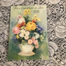 Vintage Greeting Card Birthday Sister in law pretty colorful flowers