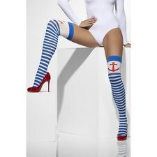 Womens Blue White Hold Ups Anchor Valentine Day Sexy Naughty Sailor Stockings