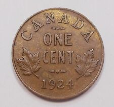 1924 Small Cent EF SCARCE Date 4th LOWEST Mintage KEY King George V Canada Penny