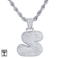 """S Initial Silver Plated Custom Bubble Letter Iced CZ Pendant 24"""" Chain Necklace"""