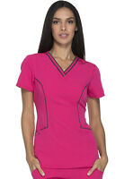 Scrubs Dickies Xtreme Stretch Women V-Neck Top DK715 HPKZ Hot Pink Free Shipping