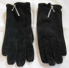 Black Suede Leather Winter Gloves, Zipper at Wrist, Acrylic Knit Lining, Size M