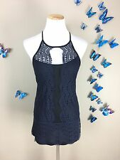 POSTMARK Anthropologie $68 Blue Lace Soft Stretch Open Back Tank Top Size Small