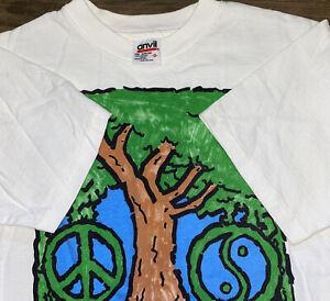 Vintage 90s Make Peace With Nature Human-I-Tees T-Shirt Size S USA Yin Yang