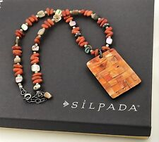 Silpada .925 Sterling Silver, Coral, Abalone & Mother O Pearl Pendant Necklace