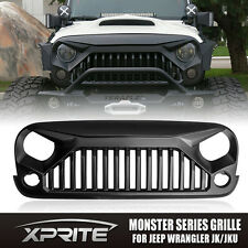 Xprite Angry Monster Bird Front Matte Black Grille for Jeep Wrangler JK 07-17