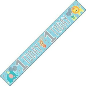9ft 1st First Birthday Blue Foil Banner Age 1 Baby Boy Party Decorations
