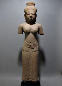 KHMER SCULPTURE SANDSTONE FEMALE APSARA TORSO FIGURE ANGKOR WAT BAYON 13TH C