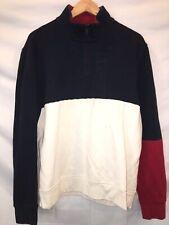 Vintage 90s Tommy Hilfiger Color Block FlagPullover Sz Large 1/4 Zip