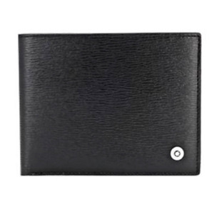 Montblanc Men's Leather Half Wallet 6cc 38036 Black Saffiano Express ship