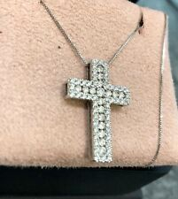 18ct White Gold Diamond Cross Pendant Necklace With Chain 0.78ct Certificate