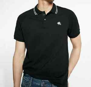 NWT【 L 】Express Men's Tipped Snap Front Stretch Pique Polo Shirt BLACK