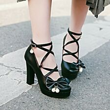 Lolita Sweet Women's Cosplay Mary Janes Cross Strap Bowknot Cute Shoes Pumps