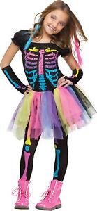 Funky Punky Bones Child Girls Costume Colorful Skeleton Fancy Dress Funworld