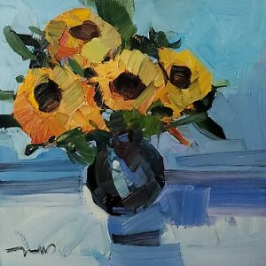 JOSE TRUJILLO Oil Painting IMPRESSIONISM MODERN COLLECTIBLE FLOWERS FLORAL ART