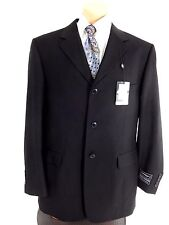 GEORGIO FERRARO MENS BLACK POLYESTER BLEND SUIT JACKET SPORT COAT SIZE 42R