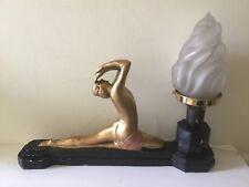 Original Art Deco Plaster Nude Lady Figure Lamp & Flame Shade
