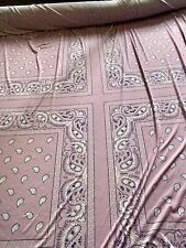 Pink Paisley Squares Print Soft Touch Lycra Stretch Jersey Fabric, Per Metre