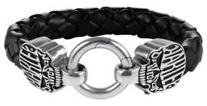 Harley-Davidson Men's Calavera Skull Braided Leather & Stainless Steel Bracelet