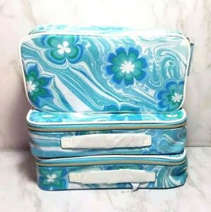 80 x ESTEE LAUDER BLUE FLOWERS IN WAVE COSMETIC TRAVEL CASE BAG 10*5*2.5 INCH