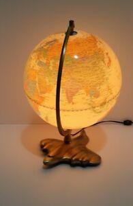 Vintage Sarsaparilla 1987 Light World Globe Metal Art Deco Airplaine Base WORKS