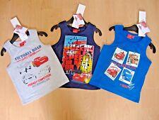 Boys Disney Pixar Cars T Shirt Sleeveless Vest Top Tee Navy Blue Grey Ages 2-8