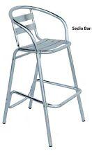 Sgabello sedia alta da bar in alluminio per tavolo snack NO braccioli mod.min