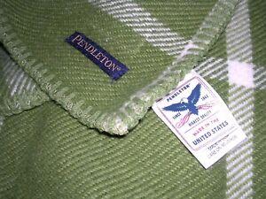 "008O Vintage PENDLETON 100% Wool GREEN CREAM Plaid BLANKET 66X90"" EUC"