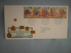 'Lord Mayors Show' 1989 GB Royal Mail FDI Stamp cover, 5 x20p Stamps, Dragon H/S
