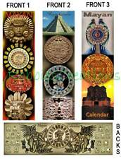 3 Lot-MAYAN ART Calendar BOOKMARKS Mask Aztec Mexico ART book mark Card Figurine