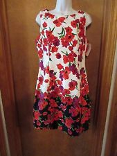 """Ladies """"Chaps"""" Size 8, Multi Color, Floral,Sleeveless,Sheath,Knee Length, Dress"""