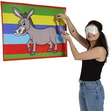 PIN THE TAIL ON THE DONKEY CHILDRENS KIDS BIRTHDAY PARTY GAME 12 PLAYER