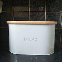 Contemporary White Enamel BREAD BIN Storage Canister Bamboo lid bread loaf bin