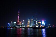 SHANGHAI SKYLINE CITYSCAPE POSTER NIGHT 24x36 HI RES