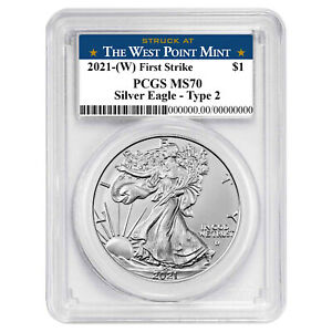 2021 (W) $1 Type 2 American Silver Eagle PCGS MS70 FS West Point Label