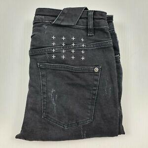 Ksubi Size 30 Chitch Boneyard Skinny Faded Black Denim Jeans Distressed Men's