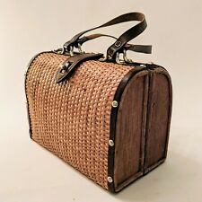 Vintage Wicker Purse Hand Crafted British Colony Hong Kong Rattan 60s Mod