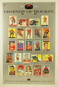 """vintage vtg LEGENDS OF HOCKEY Cards Eurographics poster NHL 23x35"""" Orr Howe Hull"""