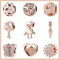 Authentic 925 sterling silver Family Love Rose Gold charm able Pandora bracelets