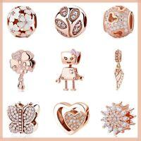 Authentic 925 sterling silver Family Love Rose Gold charm suit Pandora bracelets
