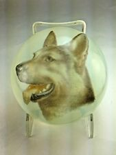 """Vintage Very Rare Murano Italy """"German Shephard Dog"""" Pictorial Glass Paperweight"""