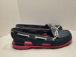Crocs Womens 8 Beach Line Slip On Boat Shoe Leather Laces Blue Pink